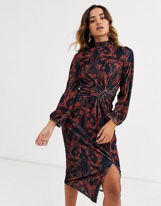 Hope & Ivy knot front velvet midi dress in floral print