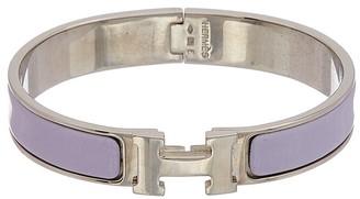 Hermes Palladium & Purple Enamel Clic-Clac H Bracelet