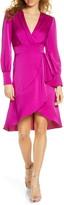 Harlyn Faux Wrap Long Sleeve Satin Dress