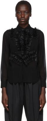 Comme des Garcons Black Georgette Ruffle Detail Shirt