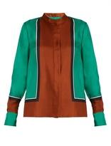 Diane von Furstenberg Scarf-print high-neck silk shirt