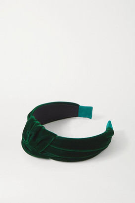 Jennifer Behr Rachael Knotted Velvet Headband - Dark green