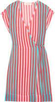 Diane von Furstenberg Striped Linen-blend Wrap Dress - Coral