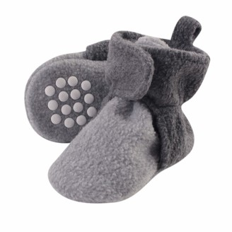 Luvable Friends Baby Fleece Lined Booties Charcoal and Heather Gray 12-18 Months