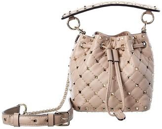 Valentino Rockstud Mini Leather Bucket Bag