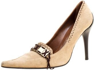 Casadei Beige Suede Pointed Toe Pumps Size 38.5