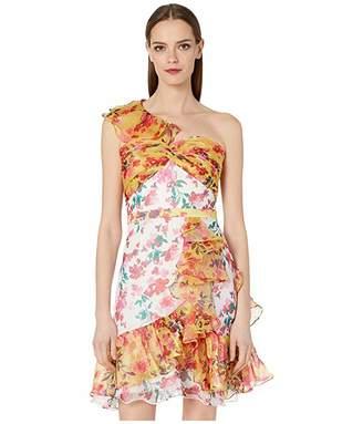 Marchesa One Shoulder Color Blocked Printed Cocktail Dress
