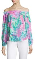Lilly Pulitzer Adira Stretch-Silk Off-The-Shoulder Blouse