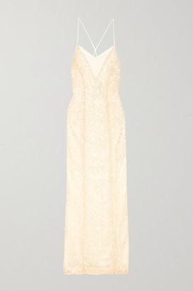 Galvan Hollywood Paillette-embellished Metallic Tulle Gown - White