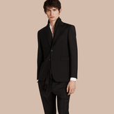 Burberry Modern Fit Wool Mohair Part-canvas Jacket , Size: 46r, Black