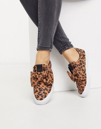 ASOS DESIGN Dekker bow slip on trainers in leopard