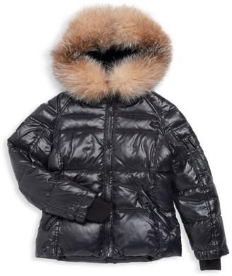 SAM. Girl's Blake Metallic Fox Fur-Trim Down Puffer Jacket