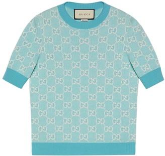 Gucci Gg Logo Knit Top Light Blue/ivory