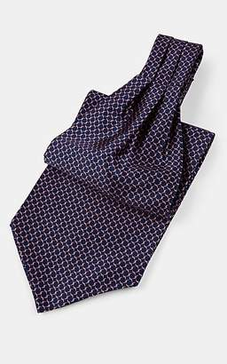 Barneys New York Men's Crosshatch-Pattern Silk Satin Ascot - Navy