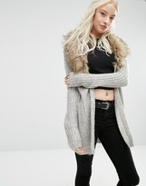 Brave Soul Faux Fur Collar Cardigan
