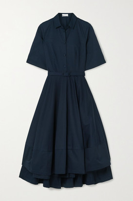 Co Belted Asymmetric Pleated Cotton-poplin Midi Shirt Dress - Navy
