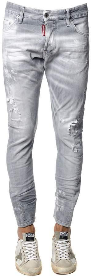 DSQUARED2 Sexy Twist Grey Stretch Denim Jeans