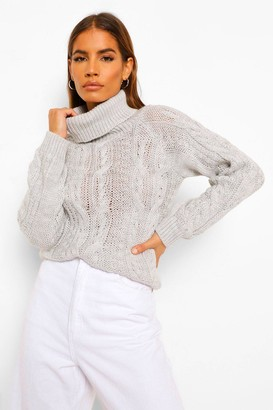 boohoo Petite Cable Knit Roll Neck Cropped Jumper