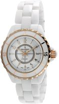 Peugeot Women's PS4895RG Swiss Ceramic White Sport Bezel Rose-Gold Accent Watch