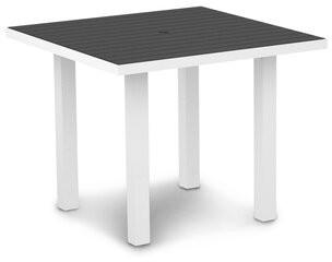 "Polywood Euro Square 29"" Table Color: Silver / Slate Grey"