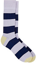 Corgi Men's Block-Striped Rib-Knit Cotton-Blend Socks