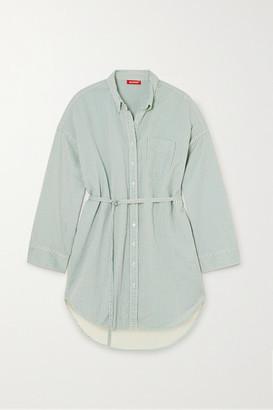 Denimist Belted Striped Cotton Mini Shirt Dress - Blue
