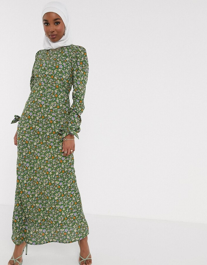 ASOS DESIGN long sleeve maxi tea dress with tie detail in ditsy floral print