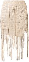 Magda Butrym - woven fringe mini skirt - women - Silk/Sheep Skin/Shearling - 36