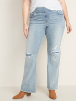 Old Navy High-Waisted Plus-Size Distressed Pull-On Boot-Cut Jeans