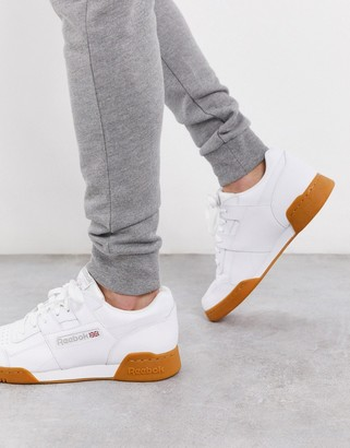 Reebok workout plus sneakers in white with gum sole