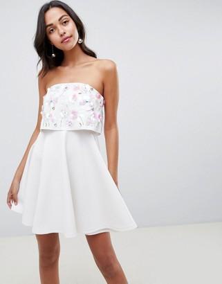 Asos DESIGN scuba embellished crop top bandeau skater mini dress