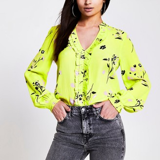 River Island Lime floral frill front V neck blouse