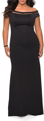 La Femme Plus Size Off-the-Shoulder Jersey Gown with Mesh Inlay