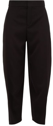 Chloé Pleat-front Cropped Crepe Trousers - Womens - Black