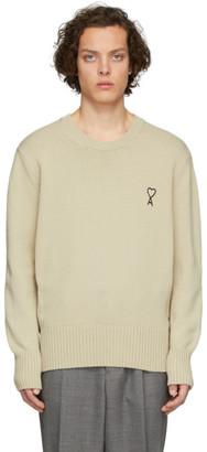 Ami Alexandre Mattiussi Beige Embroidered Ami De Coeur Sweater