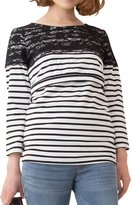 Sweet Mommy Maternity and Nursing Lace Shoulder Stripe Tee Shirt three quarter sleeves