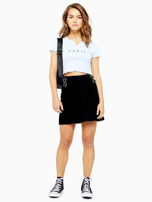 Topshop Petite Buckle A-line Denim Mini Skirt - Black