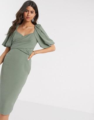 Asos DESIGN wrap front midi dress with puff sleeves in khaki