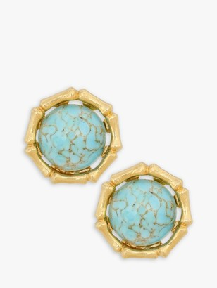 Eclectica Vintage Gold Plated Glass Cabochon Stone Round Clip-On Stud Earrings, Gold/Turquoise