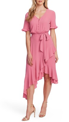 CeCe Ruffle Belted High/Low Dress