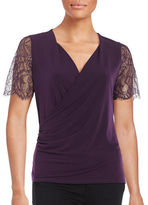 T Tahari Zella Lace-Sleeved Surplice Blouse