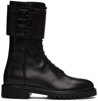 LEGRES Black Leather Military Combat Boots