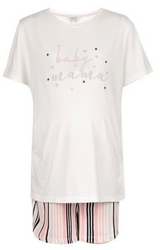 Dorothy Perkins Womens **Dp Maternity Ivory 'Baby Mama' Cotton Print Pyjama Set