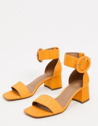 ASOS DESIGN Hopeful block heeled sandals in orange