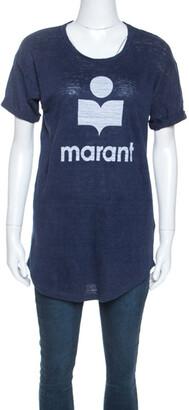 Isabel Marant Navy Blue Moby Logo Printed Linen T-shirt M