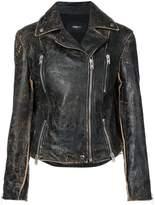 Yang Li faded finish biker jacket