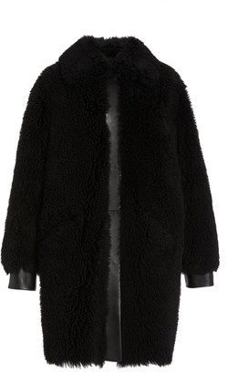 Common Leisure Moon Leather-Trimmed Shearling Coat