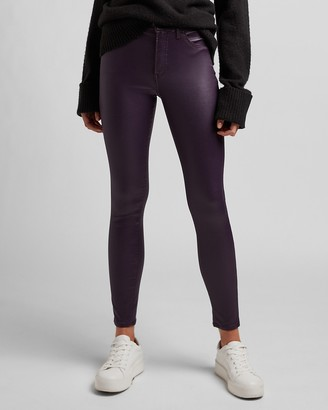Express Mid Rise Coated Purple Skinny Jeans