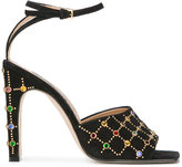 Sergio Rossi embellished sandals - women - Leather/Metal (Other)/Calf Suede/glass - 36