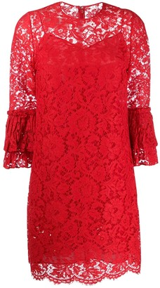 Valentino Floral Lace Ruffle Dress